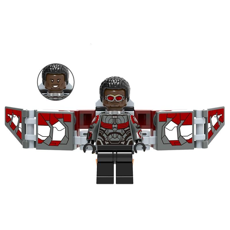 Hot Sale Single Falcon Bricks Dolls Minifigs Thanos Thor Pepper War Machine Captain America Doctor Strange Marvel Toys For Kids
