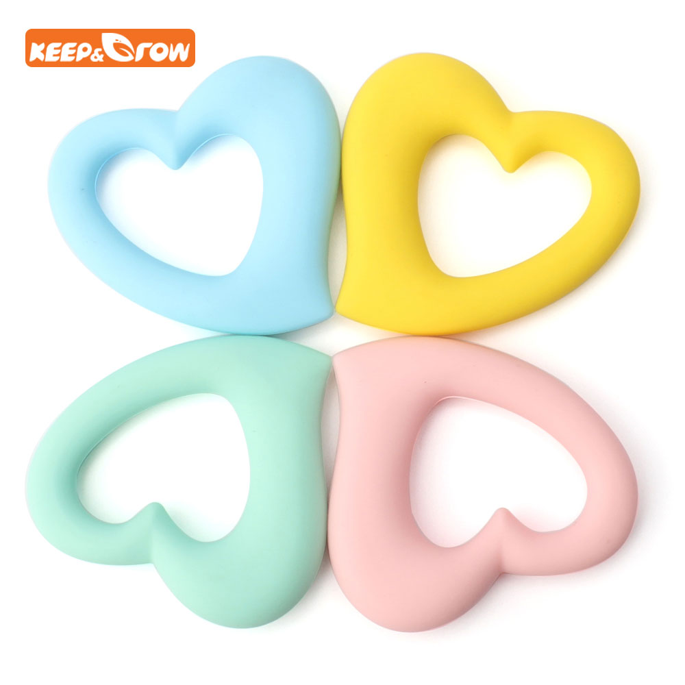 Keep&grow Heart Silicone Teether Toy Baby Teething Necklace Beads Accessory Gum Food Grade Silicone Koraliki Silikonowe 60mm