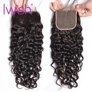 Image 5 - Mechones de pelo brasileño IWish 3/4 con cierre 100% extensión de cabello Remy extensiones de cabello humano mojado y ondulado con cierre