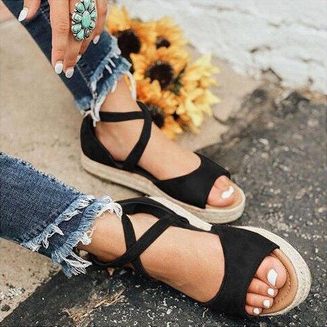 LAAMEI 2019 nuevas sandalias de mujer de moda de diseño de Punta abierta sandalias romanas de mujer zapatos planos de playa de verano zapatos de mujer Sandalias