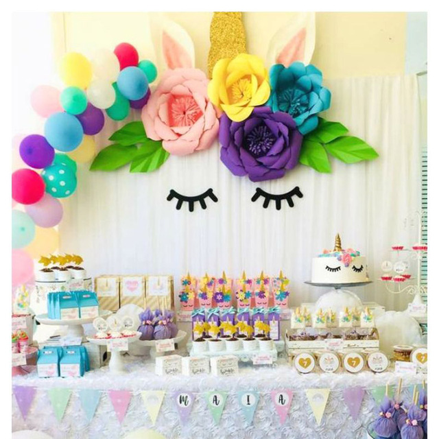 unicorn party decoration diy paper flowers backdrop decor kids