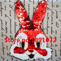 2pcs Lot 22 30cm Sew On Sequin Rabbit Patch DIY Sequin Applique Diy Accessories For Lady