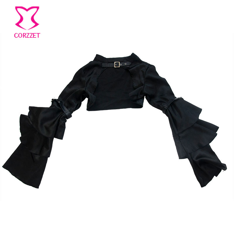 Corzzet-Vintage-Black-Satin-Gothic-Short-Jacket-Long-Sleeve-Coat-for-Women-Victorian-Jacket-Accessories-Corset