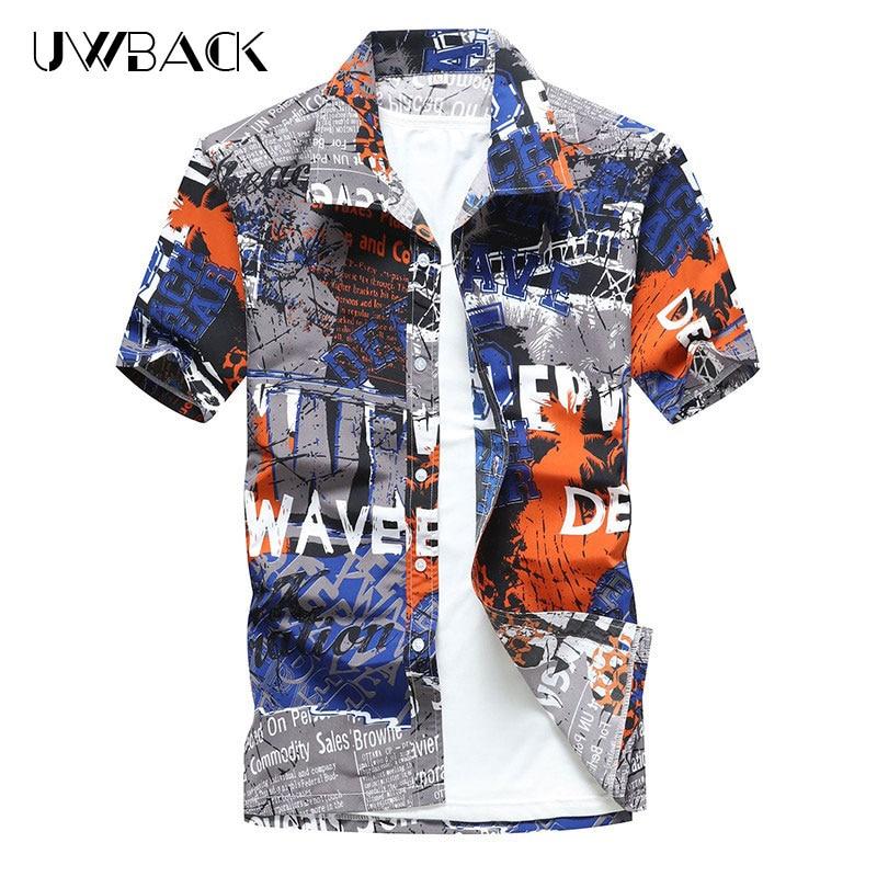 Uwback 2018 Summer Men Hawaiian Shirts Short Sleeve Loose Beach Shirts Printed Casual Shirts Plus Size 5XL Chemise Homme XA553
