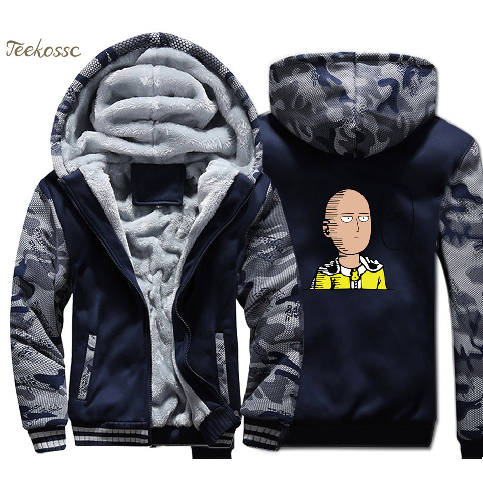 One Punch-Man Hoodie Men Anime Hooded Sweatshirt Hero Coat 2018 Winter Thick Fleece Warm Camouflage Cool Jacket