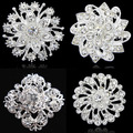 19 Designs To Choose Top Quality Crystal Pretty Flower Brooch For Wedding Bridal Hot Sale Silver Tone Women Collar Pins Retail!
