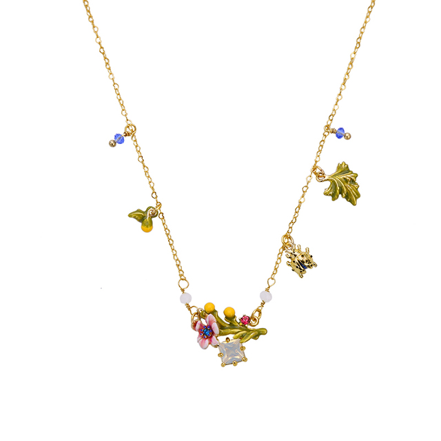 Thin Chain Exquisite Enamel Flower Necklace Summer Female Colorful Choker Necklace Brand New Turkish Jewelry
