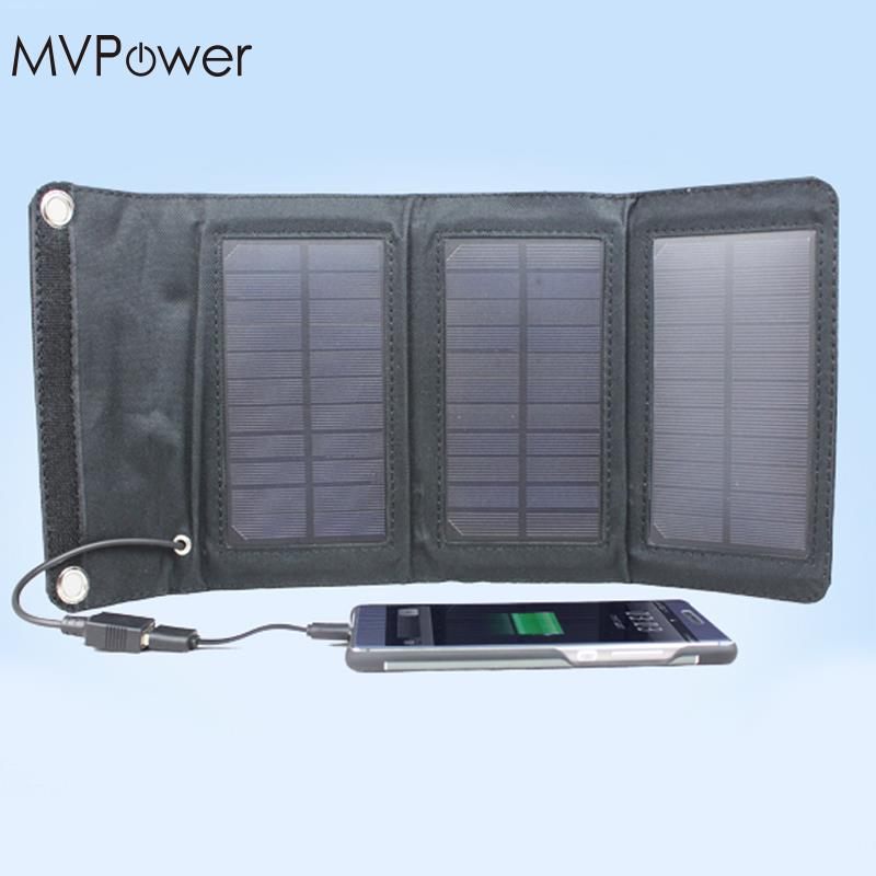 f258419b33928e MVpower 5W Foldable Solar Battery Charger USB Power Bank Pack for Cellphone  Black