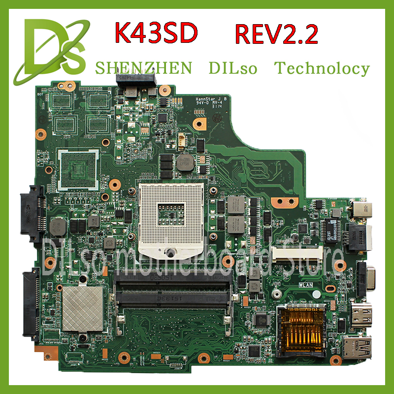 KEFU K43SD laptop motherboard for ASUS K43SD K43E P43E A43E mianboard original REV:2.2 Test motherboard laptop non integrated motherboard for k43sd k43sd main board free shipping