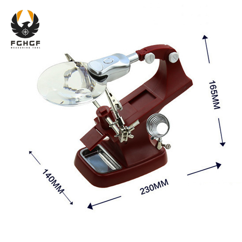 FGHGF 3x Illuminated Desk Magnifier Lamp Helping Hands Third Soldering Tool Magnifying Glass With Led Lights