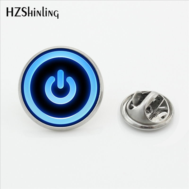 2017 New Fashion Power <font><b>Button</b></font> On Off Lapel <font><b>Pins</b></font> Silver Round Power <font><b>Button</b></font> Butterfly Fashion Jewelry Stainless Steel Brooch <font><b>Pins</b></font> image