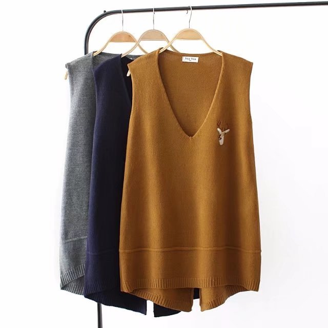 e4decec03 Oversized Plus Size Autumn Winter Women Sweaters And Pullovers Casual  Sweater Knitted Jumpers Sleeveless V Neck
