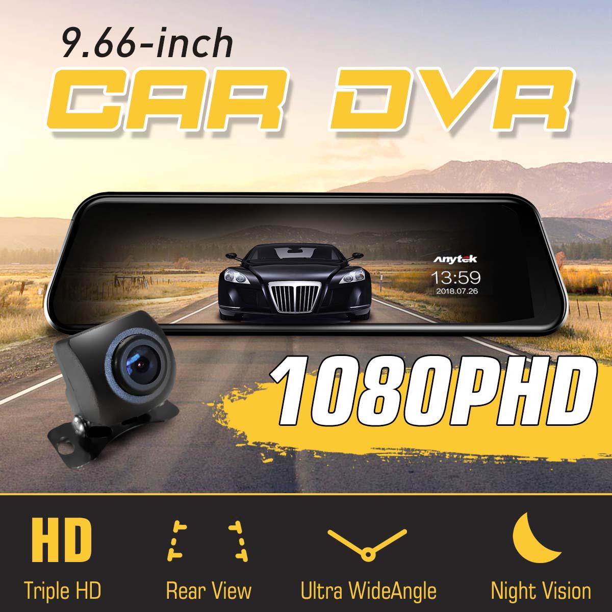 Car Traffic Recorder DVR Camera Full HD 1080P 9.66inch Stream Media Rearview Mirror Dual Lens Video Data Recorder Night VisionCar Traffic Recorder DVR Camera Full HD 1080P 9.66inch Stream Media Rearview Mirror Dual Lens Video Data Recorder Night Vision