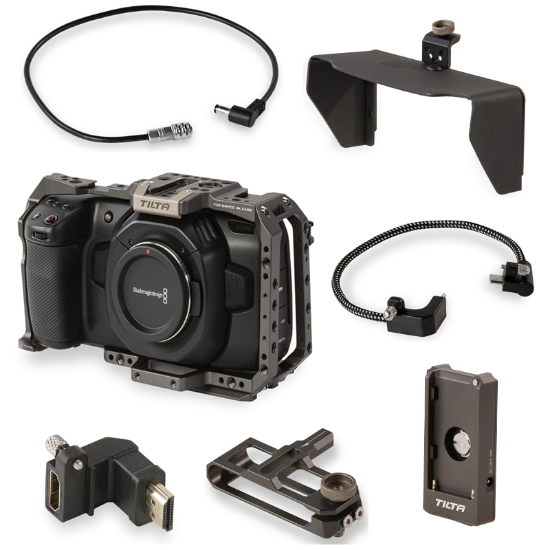 Tilta BMPCC Camera Cage with Partial Sunho SSD Drive Holder DC Power Cable F970 Battery Plate