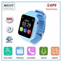 Gps smart watch enfants montre v7k avec caméra/facebook sos call lieu devicertracker pour kid safe anti-perdu moniteur pk q80 q90