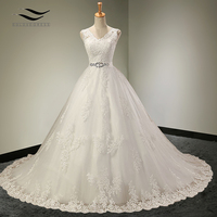Charming V Neck Floor Length Sleeveless Wedding Dress With Sash Crystls Court Train Bridal Gown Custom