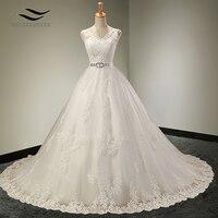Charming V Neck Floor Length Sleeveless Wedding Dress With Sash Crystls Court Train Bridal Gown Custom