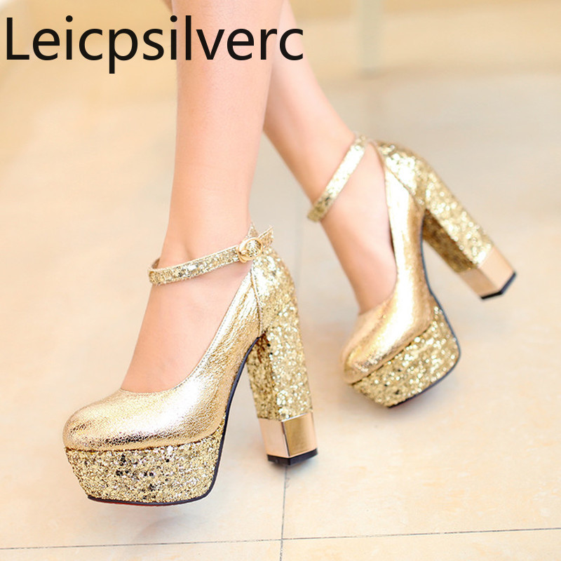 Women's Shoes Pumps Sequin Thick Heel Thick-Bottom Gold Silver Plus-Size Super Spring