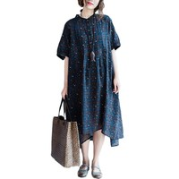 Asian Style Big Size Women Casual Plaid Asymmetrical Short Sleeves Dress Summer Female Natural Linen Cotton Women Dresses