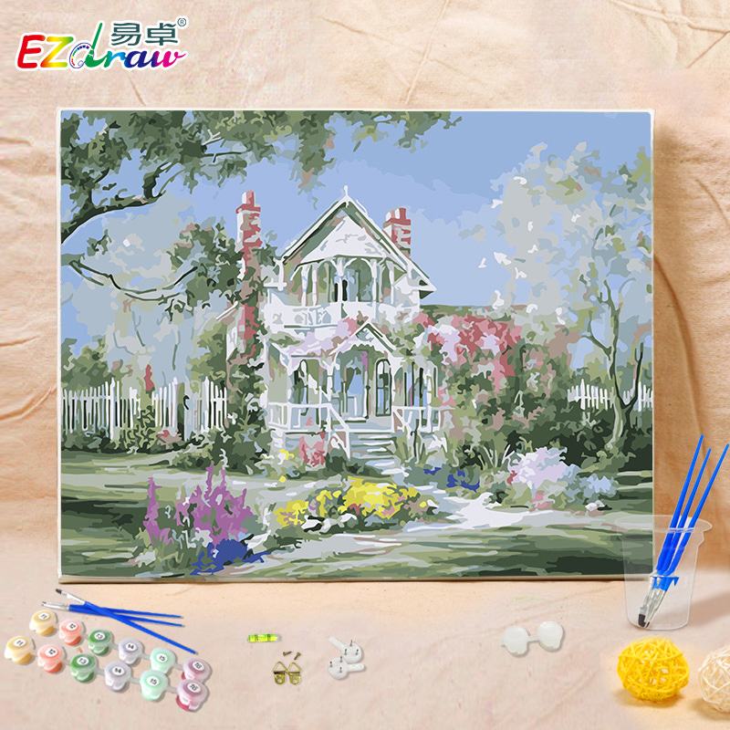 Compare Price To Wall Painting Kit: Frameless Meteor Garden Diy Oil Painting By Numbers Kits