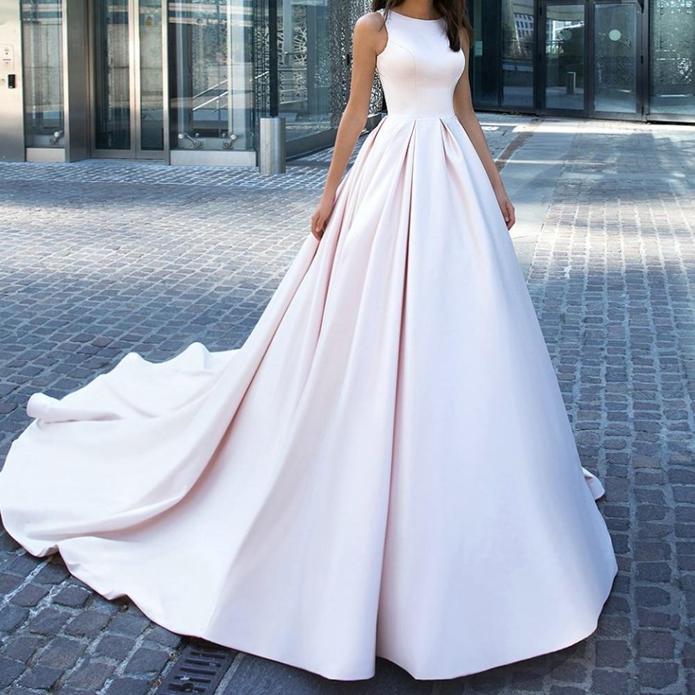 Delicate Backless Sheer Neck Elegant Satin Wedding Dress A Line Sleeveless Sash Europe Wedding Dresses 2019