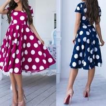 2019 women dress Fashion Casual Short Sleeve Dress Dot Printing A-Line Dress Beach O-Neck Ladies Loose Dress