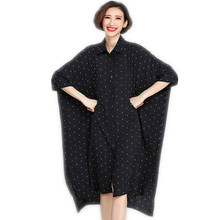 Beach casual Long section Kimono Three Quarter Polka Dot Print Women's shirt Loose Plus size Female blouses Batwing Sleeve shirt