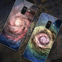 For Samsung Galaxy A8 2018 Case Samsung A8 Plus A730F Painted Pattern Tempered Glass case for SamsungA8 A 8 A5 2018 A530 Coques protective glass red line for samsung galaxy a8 2018 a530