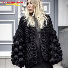 Try Everything 2018 Women Winter Sweater Cardigan Black Hand Knitted Long Sleeve Cardigan Female Thick Pull Femme Hiver(China)