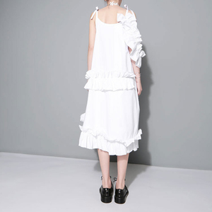 Image 2 - [EAM] 2020 New Spring  Irregular Multilayer Ruffles Solid Color Loose Fashion Sexy White Dress Women Trendy Tide J211