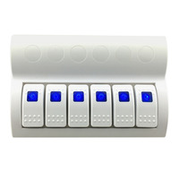 6 Gang Blue LED Waterproof Marine Boat White Rocker Switch Panel Circuit Breakers IP68