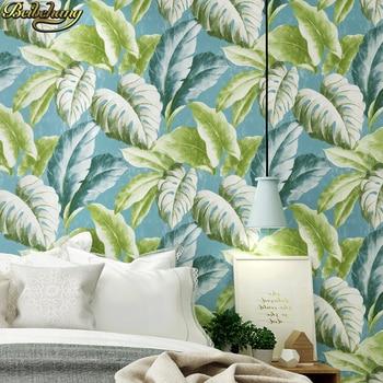beibehang mural Home Improvement vintage Vintage green leaves Flocking Wallpaper Rolls Traditional Floral Wall paper living room 2