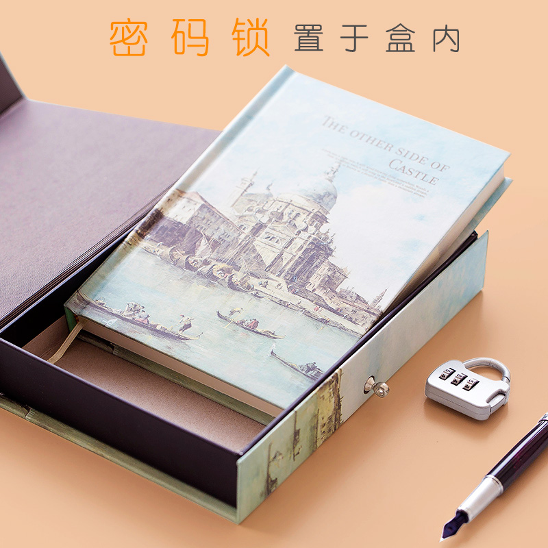WENGU Lock Password Notebook A5 Creative Coloring Page Illustration Notebook Simple Portable Love Diary 1PCS