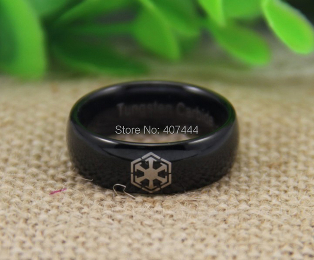 Free Shipping YGK JEWELRY Hot Sales 8MM High Polish Black Dome Star Wars SITH New Men's Tungsten Wedding Rings