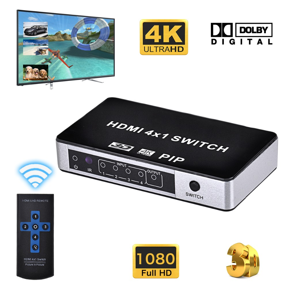 Iseebiz 4 Port 4K HDMI Switch with PIP 4x1 HDMI 1.4 Splitter Switcher with IR Remote Support 1080P 3D For HDTV/PS3/4 / DVD