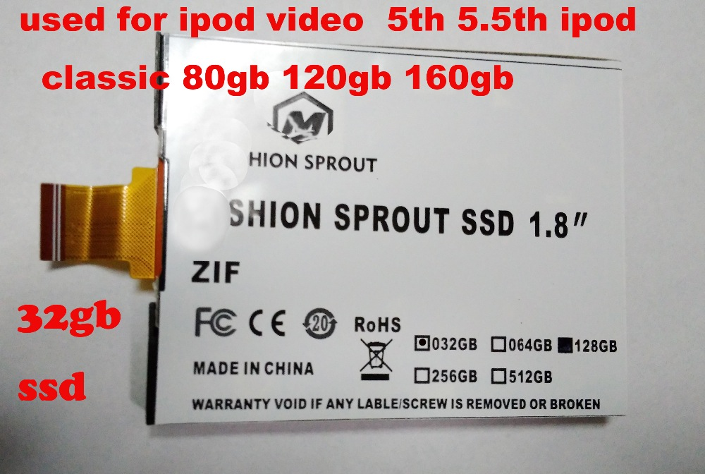new SSD For iPod Classic VIDEO 32GB SSD NEW 1.8inch ce/zif solid state drivese REPLACE mk3008gal mk8022gaa mk1231gal mk1634gal 1 8 160gb ssd ce zif pata replace mk1634gal 160gb 1 8 ce zif hdd hard disk drive for ipod classic 7th a1238