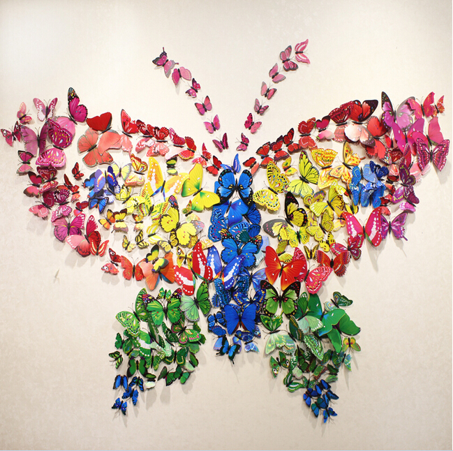 12pcs Erfly Wall Stickers Erflies Docors Art Diy Decorations Paper 2017 New Stick 23color For Choose In From Home Garden On