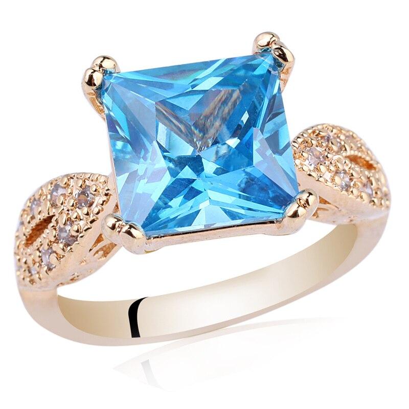 Женское классическое кольцо с желтым золотом, ювелирное изделие с квадратным фианитом 9x9 мм, R101 anillos mujer cubic zirconiaring women   АлиЭкспресс