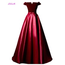 LISM Burgundy Off the Shoulder Prom Dresses Long Evening Gowns with Bow Sash Floor Length Lace up Back Party Dress vestido festa