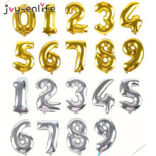 JOY-ENLIFE 1pcs 16inch Cute Silver/Gold foil number ''0-9'' Balloons New Year Birthday party Wedding Decoration love Ballon