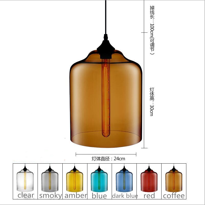 Country Vintage D24cm H30cm Glass Pendant lights Lamp kitchen dining room cafe shop glass nordic suspension Edison hanging light factory cheap amber smoky gray red coffee blue glass pendant lamp pendant light edison bulb bedroom dining room cafe kitchen bar