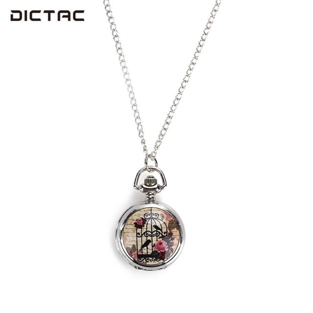 Bird Cage Enamel Fob Pocket Watch Pocket Watch Vintage Pendant Necklace Fashion
