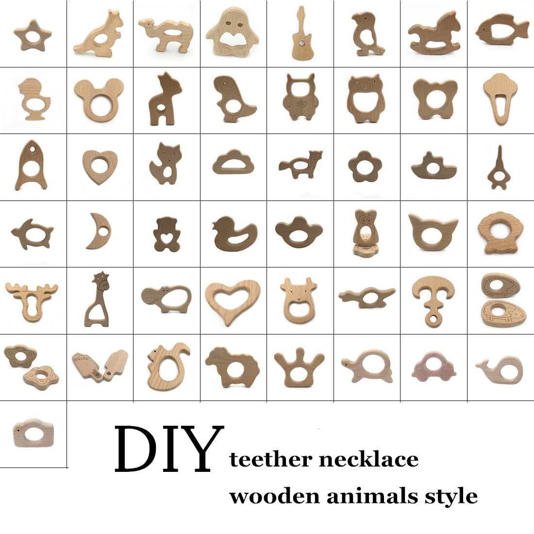 DIY Baby Gym Toys Wood Necklace Pendant Food Grade Wooden Teether Toys Tortoise Koala Whale Turtle Wooden Teething Toys jewelry making