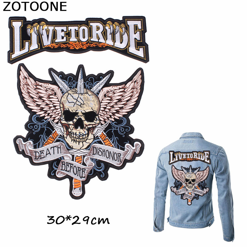 ZOTOONE Cool Death Dishonor Skull Patches Iron on Embroidery Clothes Custom Patch Large Angel Wings Applique E