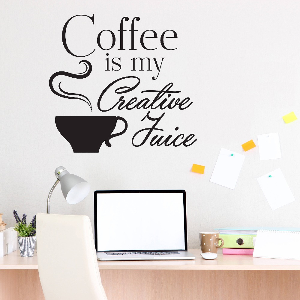 Motivational wall decal quotes coffee is my creative juice interior cafe shop wall stickers home - Wall decor stickers online shopping ...