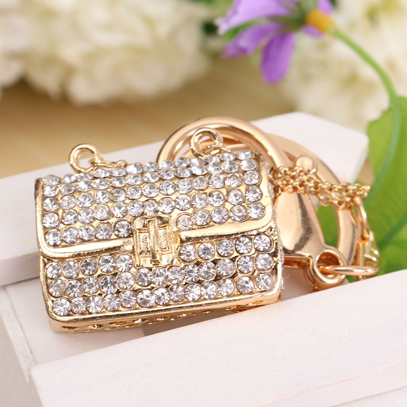New Hot Metal Bag Shaped Crystal Rhinestone Handbag Charm Pendant Keychain Mini Bag Purse Keyring for Women Key Bag Chain Gift цена 2017