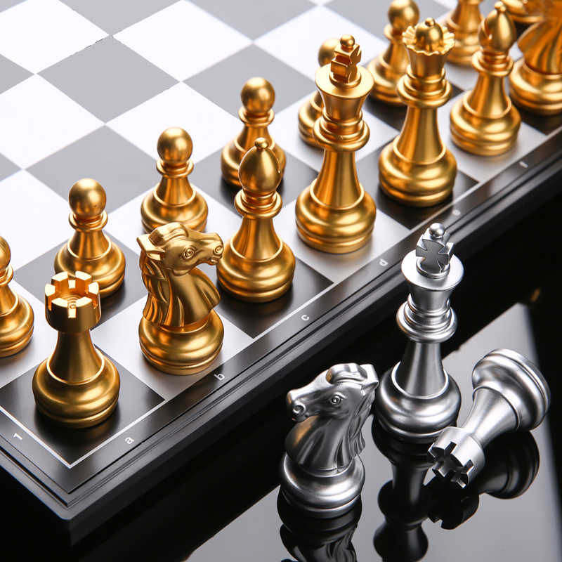 HIPS Plastic Chess Game Magnetic Chess Pieces Chess Set Gold Silver Schach Adult Games For Travel Board Games Echecs Child Toys