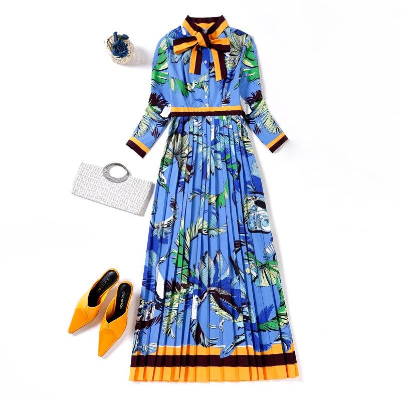 Vestiti Del Abiti Alta Il Modo Maxi Collare Vestito Boemia Estate Xxxl Qualità Dell'arco Lungo Di Blu Stampato Pieghettato Pista Formato Della Più PWS1w8f