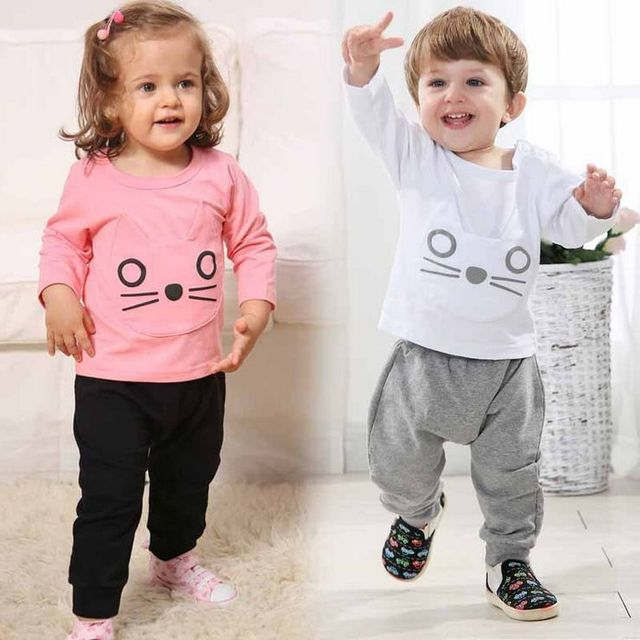 New spring cotton baby boy clothing long sleeve t shirts + pants infant boys sets kids clothes tracksuits for baby girl boy