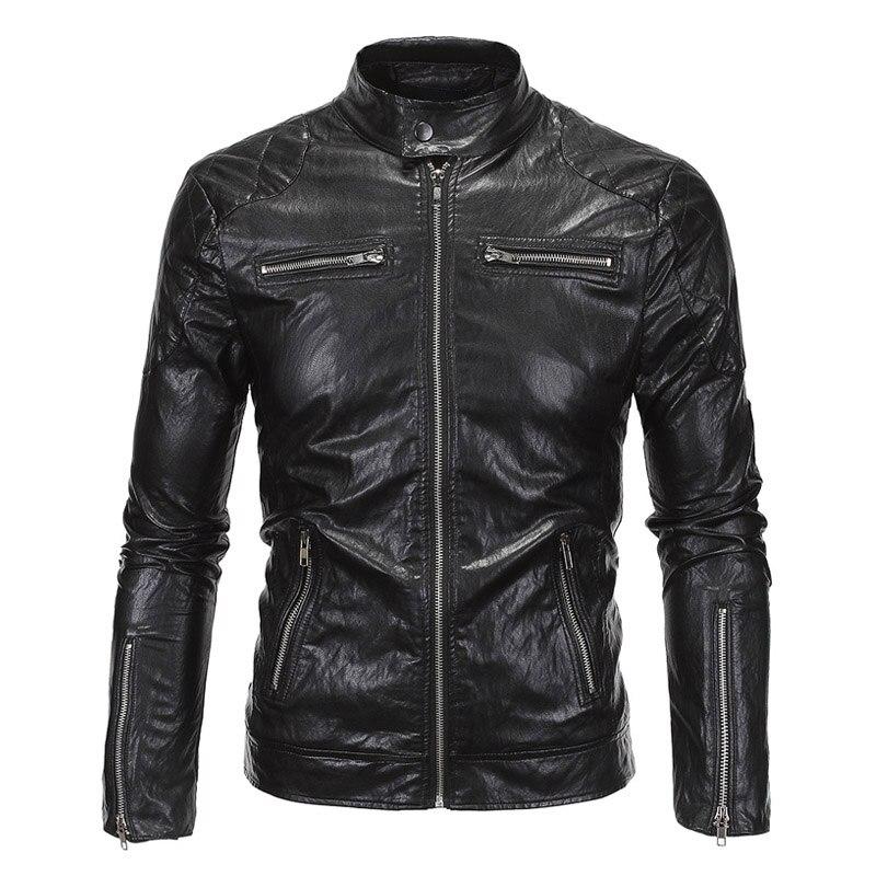 New Retro Mens Motorcycle Jacket PU Leathe Stand Collar Slim Fit Thin Lightweight Classic Biker Punk Moto Jacket Coat Size M-5XL slim fit zipper front mens jacket